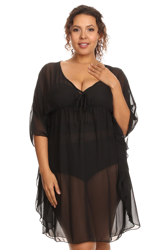 Women's Plus Size Chiffon Beach Dress Swimwear Cover-Up Made in the USA - Presidential Brand (R)