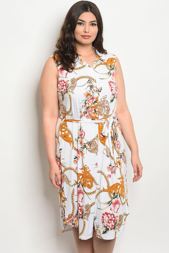 Women's Plus Size Off White Floral Sleeveless Printed Tunic Dress(6 pcs/ Bundle)