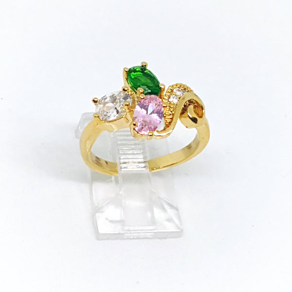 1-3105-h22 Gold Overlay CZ Ring. (2 colors available)