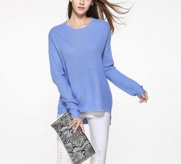 Womens Relaxed Fit Round Neck Sweater in Blue