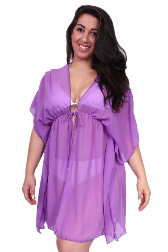 Plus Size Chiffon Open Front Swimwear Cover-up Beach Dress Made in the USA - Presidential Brand (R)