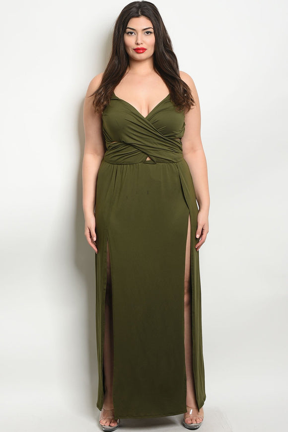 Women's Plus Size Olive Sleeveless Side Slit Maxi Dress(6 pcs/ Bundle)