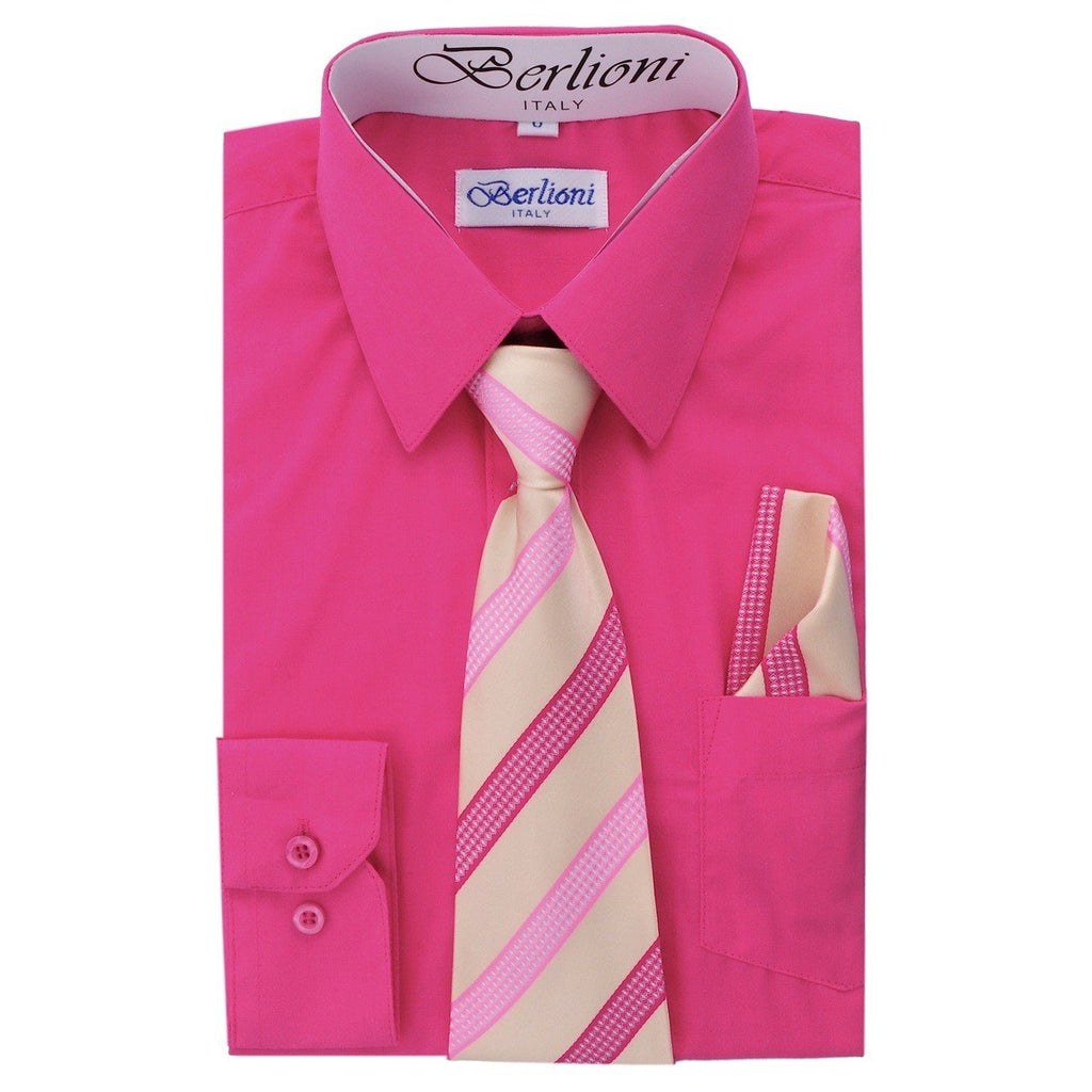 Boy's Dress Shirt/Necktie/Hanky N717-Fuchsia