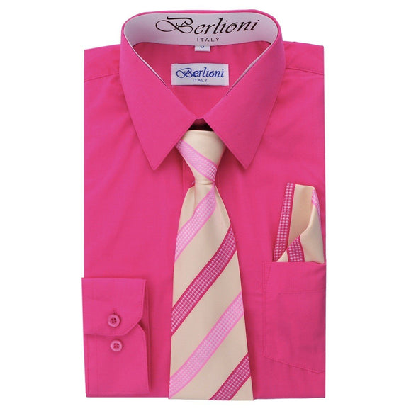 Boy's Dress Shirt/Necktie/Hanky N717-Fuchsia - Presidential Brand (R)