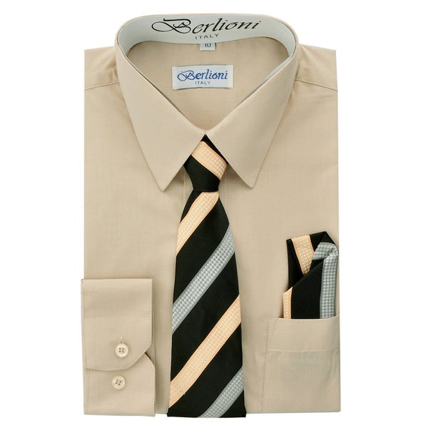 Boy's Dress Shirt/Necktie/Hanky N712-Khaki