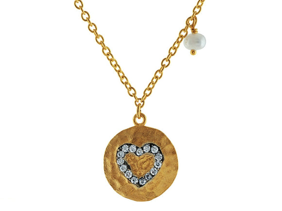 Hammered CZ Heart Pendant with Dangling Pearl Necklace in Vermeil, 16