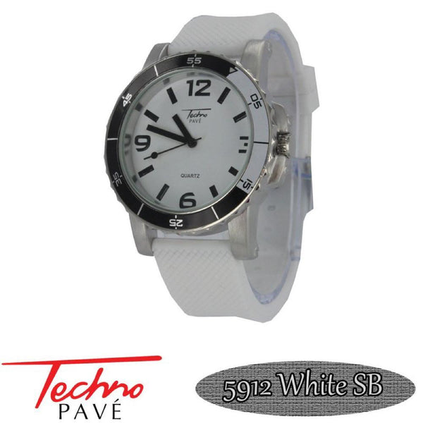 Techno Pave Sport Silver White Rubber Watch