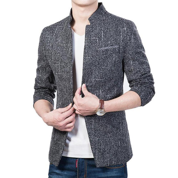 Mens Mandarin Collar Blazer in Darky Gray