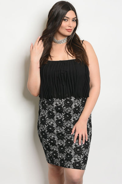 Women's Plus Size Black White Sleeveless Pleated chiffon Ruffle Banded Skirt Dress(6 pcs/ Bundle)