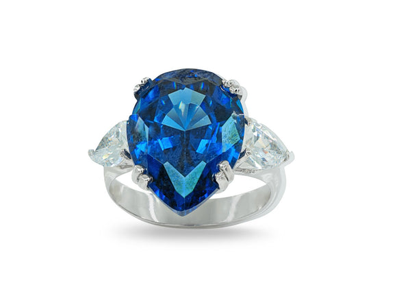 Simulated Sapphire Oval Ring in Sterling Silver - Presidential Brand (R)