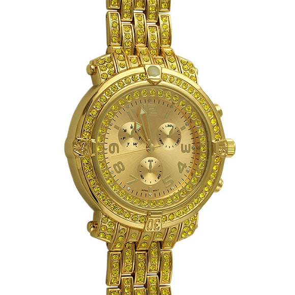 Custom Sport Lemonade Iced Out Watch - Presidential Brand (R)