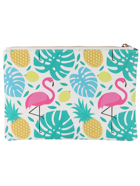 TROPICAL PRINT VINYL CLUTCH POUCH