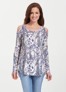 Abstract Leopard (7647) ~ Cold Shoulder Tunic - Presidential Brand (R)