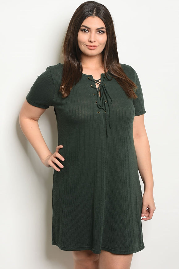 Women's Plus Size Olive Short Sleeve Lace Up Detail Ribbed Knit Tunic Dress(6 pcs/ Bundle)