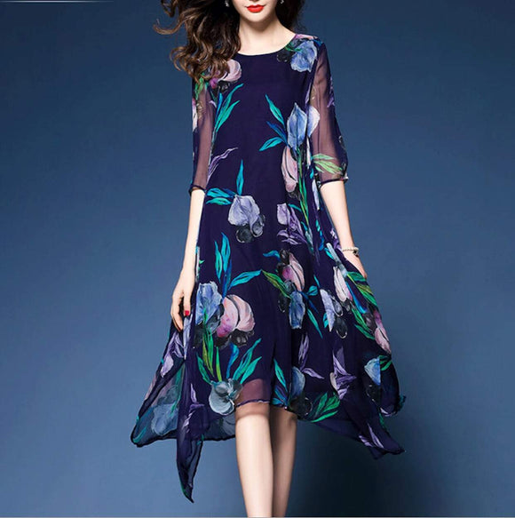 Womens Uneven Floral Chiffon Dress - Presidential Brand (R)