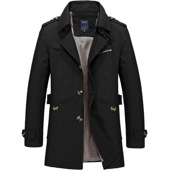 Mens Classic Black Mid Length Trench Coat - Presidential Brand (R)