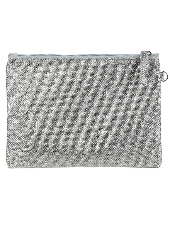 SHIMMER FINISH FABRIC CLUTCH MAKEUP POUCH