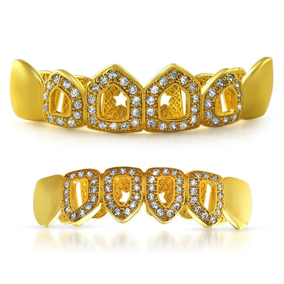 Polished 4 Open Tooth Bling CZ Gold Grillz Set - Presidential Brand (R)