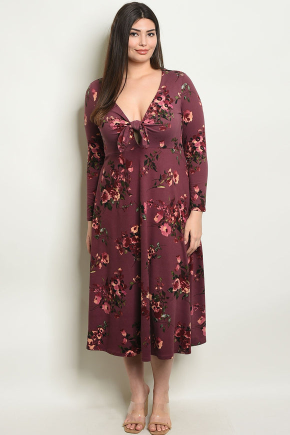 Women's Plus Size Plum Floral Long Sleeve V-Neck Floral Print Midi Dress(6 pcs/ Bundle)