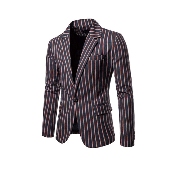 Mens Striped One Button Blazer - Presidential Brand (R)