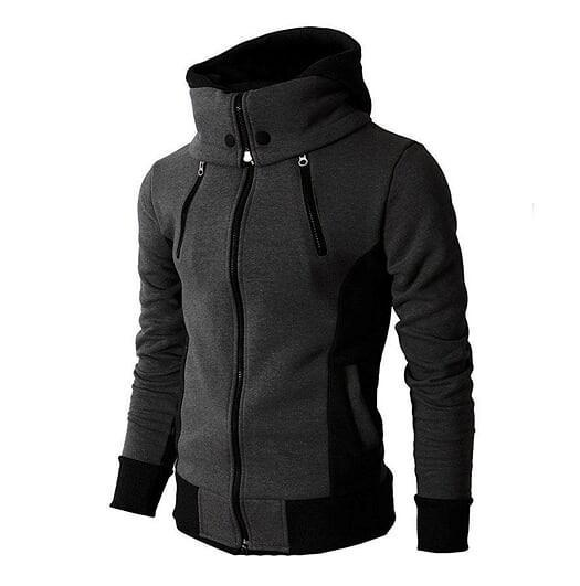 Mens Dary Gray Windproof Zipped Up Hoodie