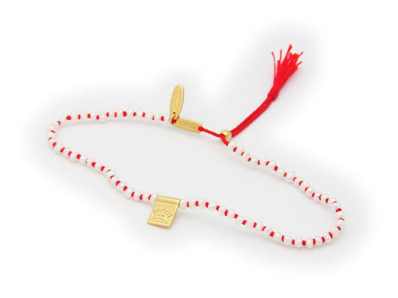 Lotus Flower & Pearls Red Cord Bracelet in Gold Plated Silver