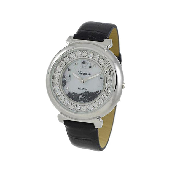 Floating Ice Round Watch Black Leather Band - Presidential Brand (R)