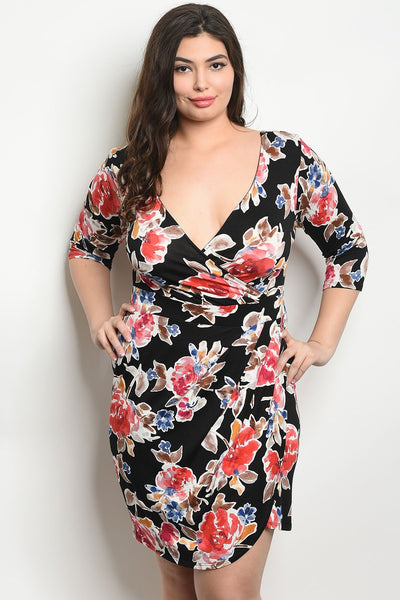Women's Plus Size Black Floral 3/4 Sleeve V-Neck Floral Bodycon Dress(6 pcs/ Bundle)