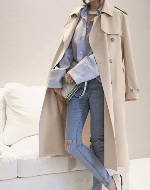 Womens Double Breasted Long Trench with Side Button Details