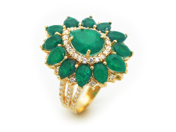 Victorian Emerald Quartz Doublet Fine Gold Plated Sterling Silver Ring by Fronay Co - Presidential Brand (R)