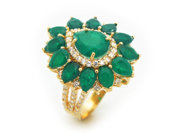 Victorian Emerald Quartz Doublet Fine Gold Plated Sterling Silver Ring by Fronay Co