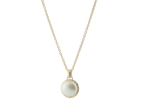 Hammered Gold Tone Freshwater Coin Pearl Pendant Necklace, 16