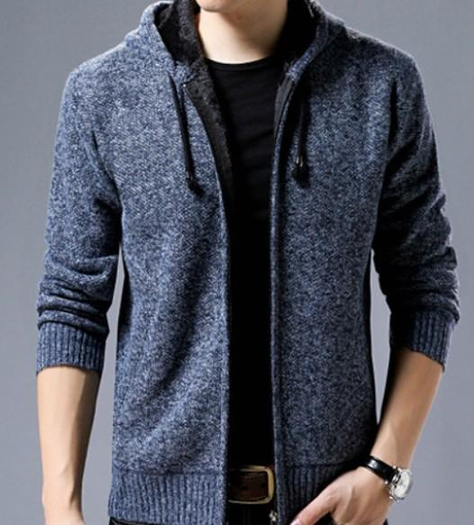 Mens Zipped Up Hooded Jacket in Blue
