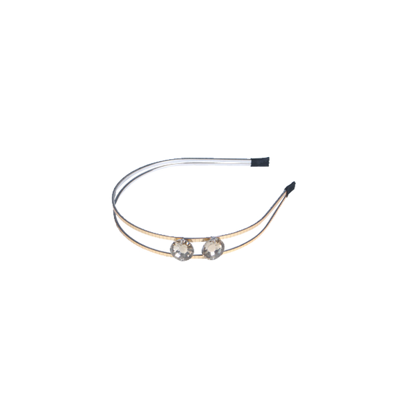 Gold Double Band Headband with 2 Gems - Presidential Brand (R)