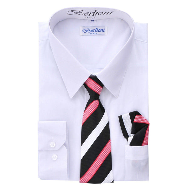 Boy's Dress Shirt/Necktie/Hanky N701-White