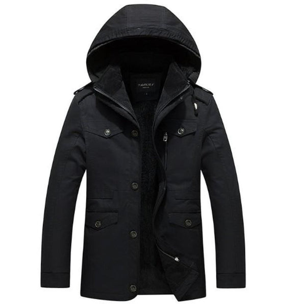 Mens Winter Hooded Military Style Coat in Black - Presidential Brand (R)