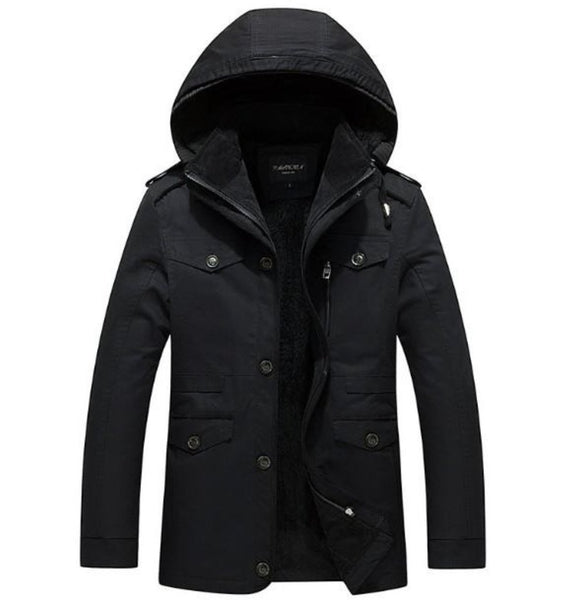 Mens Winter Hooded Military Style Coat in Black