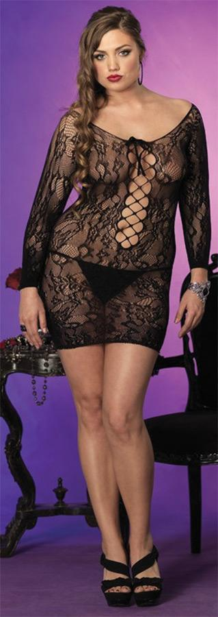 Mini Dress Floral Lace Long Sl  Adult Costume - Presidential Brand (R)