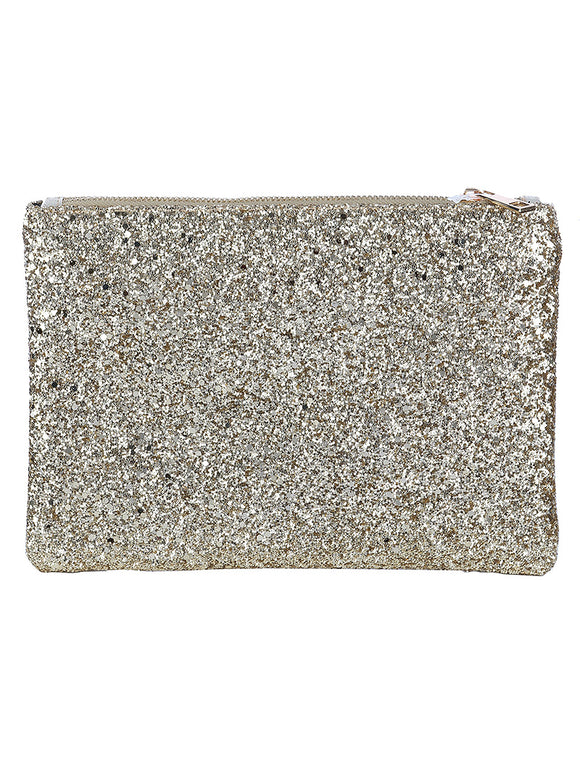 GLITTERED VINYL CLUTCH MAKEUP POUCH - Presidential Brand (R)