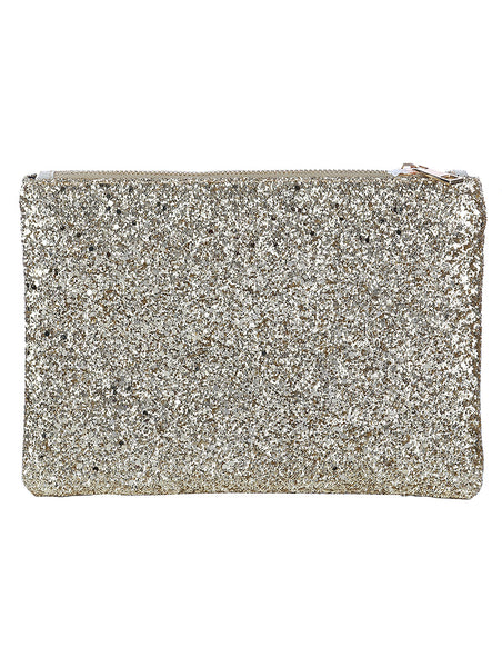 GLITTERED VINYL CLUTCH MAKEUP POUCH