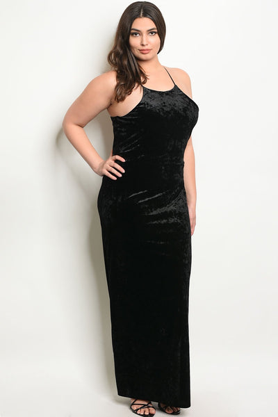 Women's Plus Size Black Sleeveless Scoop Neck Velvet Maxi Dress With Side Slit(6 pcs/ Bundle)