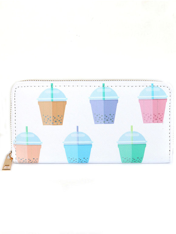BUBBLE TEA PRINT VINYL CLUTCH WALLET