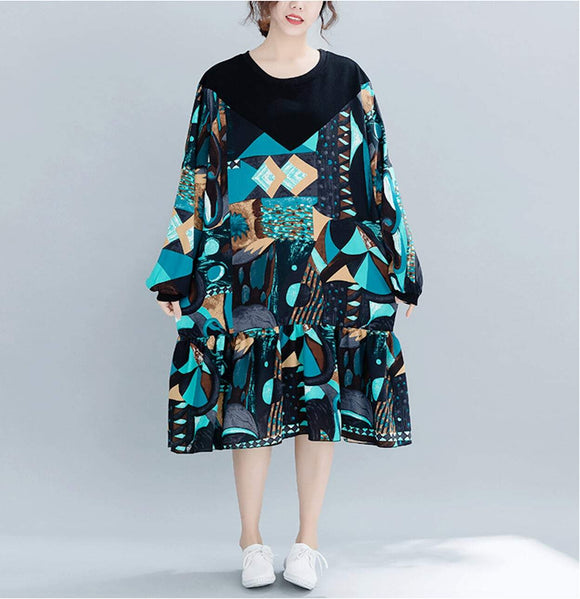 Womens Oversize Long Sleeve Geo Print Dress - Presidential Brand (R)