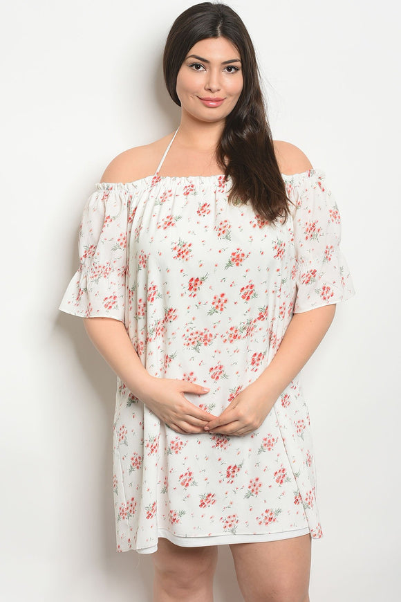 Women's Plus Size Ivory Floral Short Sleeve Off The Shoulder Tunic Dress(6 pcs/ Bundle) - Presidential Brand (R)