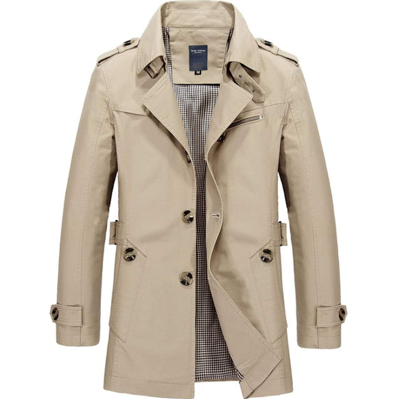 Mens Mid Length Trench Coat in Beige - Presidential Brand (R)