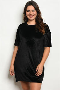 Women's Plus Size Black Velvet Short Sleeve Tunic Dress(6 pcs/ Bundle) - Presidential Brand (R)