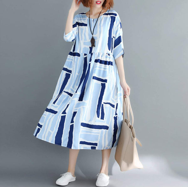 Womens Round Neck Blue Long Dress