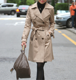 Womens Classic Khaki Double Breasted Trench Coat