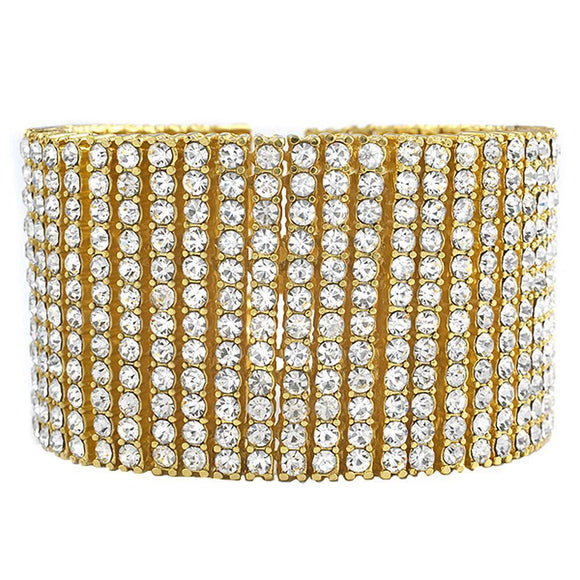 12 Row Gold Iced Out Bracelet - Presidential Brand (R)
