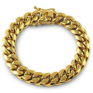 3X IP Gold Miami Cuban Bracelet Stainless Steel 12MM - Presidential Brand (R)